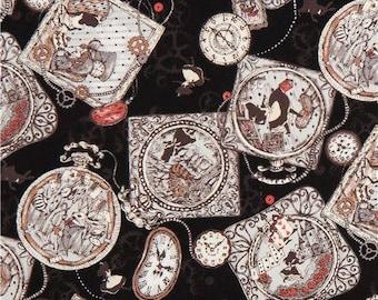 216397 black Alice in Wonderland clock fairy tale oxford fabric by Kokka