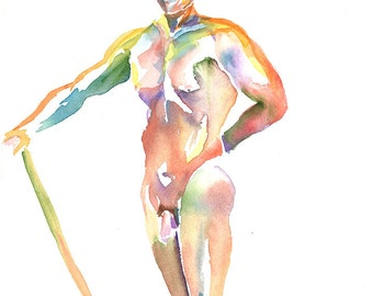 Original Watercolor, 25% OFF SALE! Nude Man with Stick, unframed, life painting, male, frontal,body, pose, man, figure, home decor, wall art