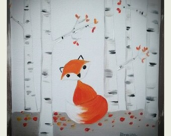 Small painting autumn Fox in the forest