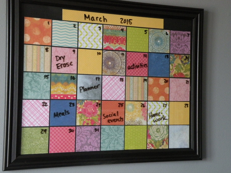 Dry Erase Monthly Calendar Reusable Planner Framed Family