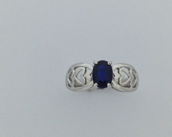 Natural Sapphire Solitaire Ring 925 Sterling Silver