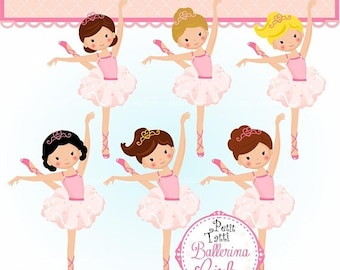 ON SALE Ballerina Clip Art | Ballet Cupcake Toppers | Ballet Party | Ballerinas Girl Clip Art | Ballet Clipart | Ballerina Clip Art, Party,P