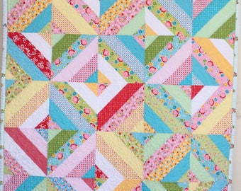 Vintage Modern Baby Girl Quilt by Dreamy Vintage Sheets