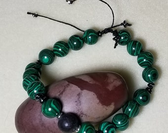 18 Malachite bead with Lava bead for Essential Oils