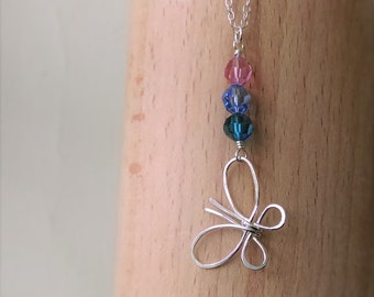 Butterfly Sterling Silver Necklace . Thyroid Cancer Survivor Awareness butterfly pink blue teal