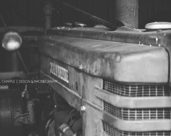 Black & White Photography, Old John Deere Tractor, Vintage, Country, Digital Download, Wall Art, Fine Art, Farm, Still Life