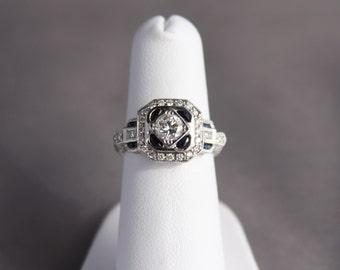 Vintage Sapphire and Diamond Ring, Vintage Sapphire Wedding Ring, Vintage Diamond Wedding Ring, Vintage Diamond Engagement Ring, Sapphires