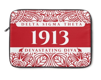 Delta Sigma Theta Laptop Sleeve  Red And White Laptop Sleeve  Custom 1913 Delta Laptop Sleeve  Delta Paraphernalia  Delta Gift