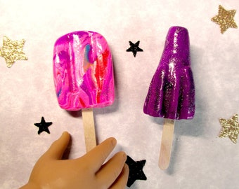 "American Food 18"" Girl Doll Space Popsicles Rocket Pop Galaxy Swirl Ice Cream Pop for Luciana Vega Celestial 1:3 Doll Food Accessory Dessert"