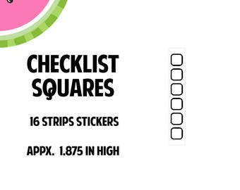 Squares Bullet Check List Strips Stamped Style Sticker| 16 Kiss-Cut Stickers | Fits most planners | FL79B |
