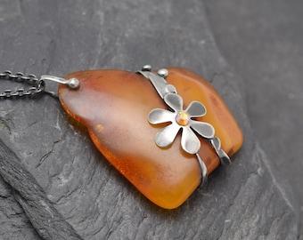 Amber pendant,Ooak Pendant,Natural Amber pendant,Boho style,natural stone,metalwork jewelry,handmade Amber necklace,siver pendant,stone