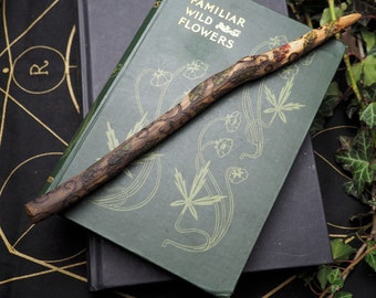 Dorset Rowan Leaf and Spiral Wood Wand for working with the Fey - with Bag - Pyrographed - Wiccan, Pagan, Witchcraft, Ritual