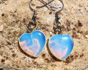 Simple Opalite Heart Dangle Earrings