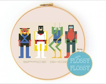 Space Ghost Coast to Coast - Brak, Zorak, & Moltar - Cross Stitch Pattern - PDF Instant Download