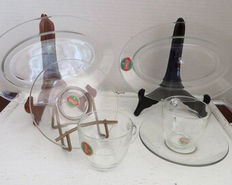Vintage Duralex French Glassware/ Two Small Platters/Two Cups and Saucers/Espresso Cups