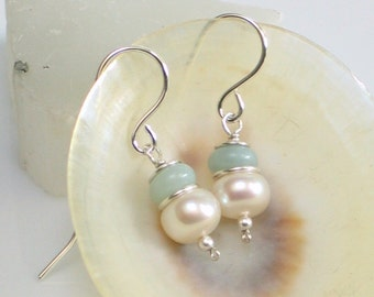 Pearl and Aqua Stone Drop Earrings, White Freshwater Pearl and Natural Amazonite Stone Earrings, White and Pastel Aqua Fashion Jewelry