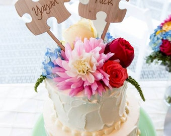 Puzzle Cake Toppers, Puzzle Pieces Wedding Cake Toppers, Rustic Wooden Cake Topper, Personalized Cake Topper, Luxury Mahogany Wood