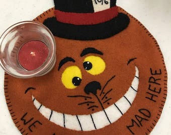 """Cheshire Cat 8"""" wool candle mat"""