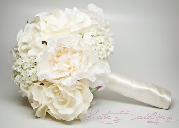 Wedding Bouquet Ivory Peony Rose Hydrangea Silk Wedding