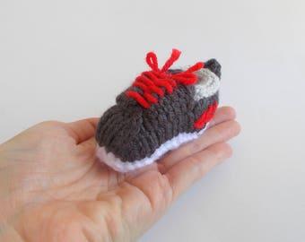 Mini Sneaker Shoe Knitted Soft Ornament - Unique Soft Ornament - Athletic Decor - Stocking Stuffer - Desk Decor - Mobile Supply - Sport Gift