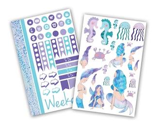 Mermaid Waves Planner Stickers Bundle