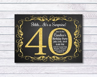 Surprise 40th Birthday Invitation, 40th Birthday Invitation, 40th birthday for her, Shhh... It's a Surprise, Girl Birthday, Gold, chalkboard