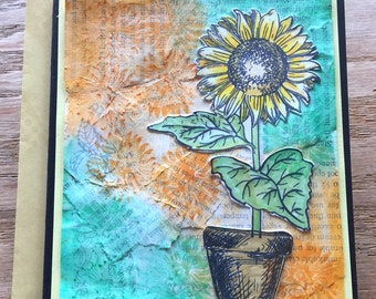 Handmade Mixed Media Sunflower Greeting Card