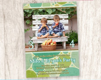 Boys Green Combined Birthday Party Photo Invitation, Boy Bubbles Party Invite, Brothers Birthday - DiY Printable || Bubbles Just For Boys