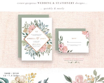Neutral Watercolor Flowers Clipart Background Rustic Vintage Geometric Floral Border Frame Clip Art