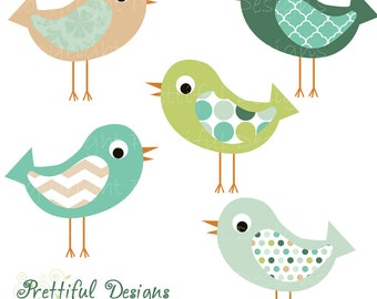 Boy Baby Shower Bird Clip Art Blue Green Instant Download
