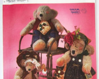 Stuffed Bears 2 Sizes and Clothes Dream Babies n Stitches Simplicity Crafts Pattern 7355 UNCUT