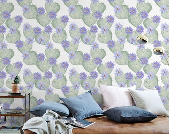Nursery Cacti Wallpaper, Removable Wallpaper, Self-adhesive Wallpaper, Floral Wall Décor, Jungle Wallcovering - JW030