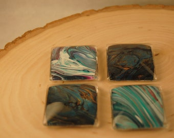 Fluid Art Square Magnets