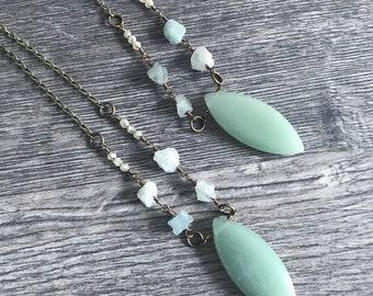 Gemstone necklace, raw aquamarine necklace, aventurine necklace, prosperity necklace, citrine necklace, gemstone jewelry, crystal necklace