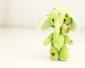 Small toy elephant. Zoo animal safari stuff toy. Handmade fabric elephant. textile baby gift elephant.