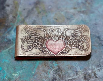 Winged Heart Tatoo Money Clip
