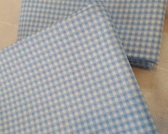 Cotton fabric small blue gingham
