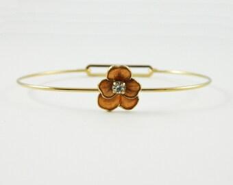 Pansy Cuff Bracelet in Bronze