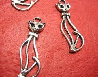 4pc antique silver metal cat pendant-3508