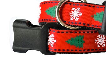 "Red Green Christmas Dog Collar, Christmas Tree Dog Collar, Winter Dog Collar, Holiday Dog Collar, 1"" thick collar, breakaway collar"