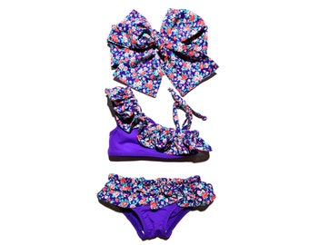 0M-9Years Purple floral swimsuit Baby swimwear Girls swimwear Kids swimsuit Baby girl swimsuit Baby swim suit Toddler Swimsuit Baby swimming