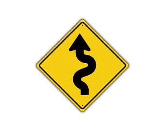 Left Winding Road with Sharp Turn Symbol Metal Aluminum Novelty Traffic Sign