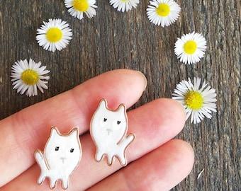 Cat Stud earrings, Little White Kitten, Cat stud earrings, Kawaii jewelry, Cat Lover Gift Cute handmade cat earrings, fans of cats, Kitties