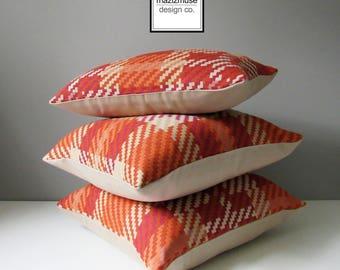 "SALE - Decorative Orange Plaid Outdoor Pillow Cover, Mid Century Modern, 18""x18"" 12""x18"" Beige Tartan, Pinnacle Sunbrella Cushion Cover"