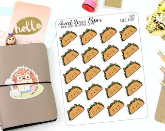 Taco Planner Stickers - Taco Tuesday Planner Stickers - Food Planner Stickers - Icon Planner Stickers - Cat Planner Stickers - 1519