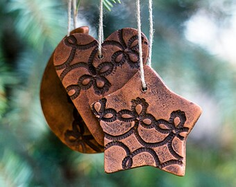 Christmas ornaments_artisan ceramics_set of 10_moon star heart_patterned brown_clay pottery home decor_wedding favors_Valentines Day Decor