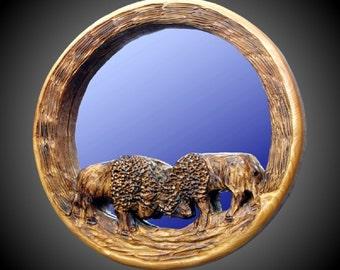 Dueling Buffalo Mirror Wall Sculpture