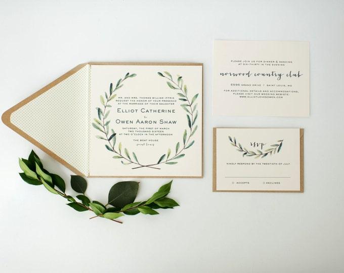 elliot greenery wedding invitation sample // green leaves watercolor rustic eucalyptus custom modern calligraphy invite printed invitation