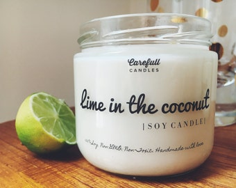 Lime in the Coconut | Soy Candle | Non-GMO | Non-Toxic | Handmade with love | Double Wicked | 40+ Hour Burn Time