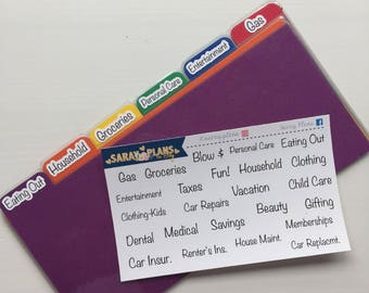 Cash Envelope System Labels & Rainbow Dividers